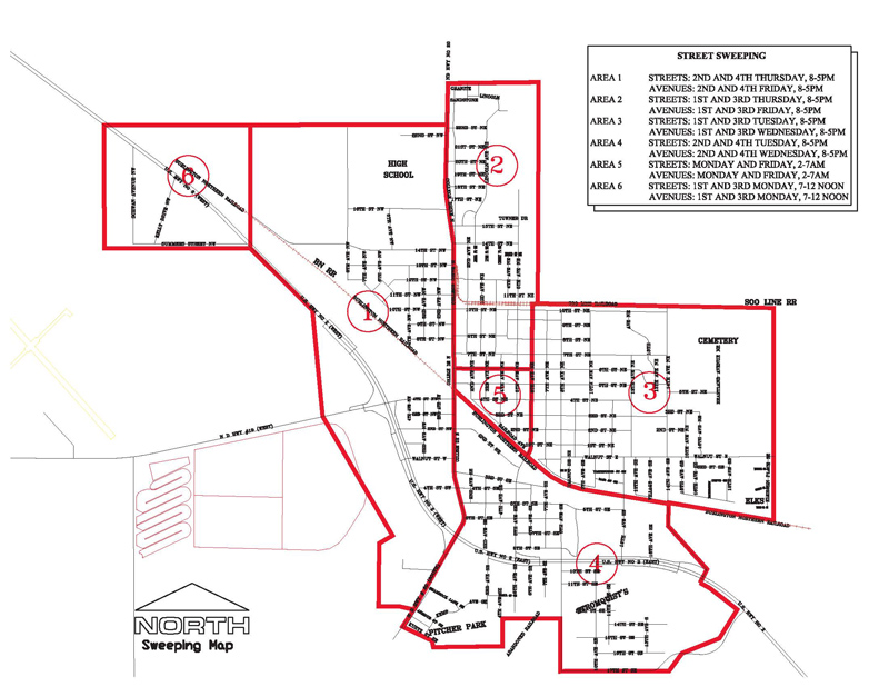 Street Sweeping Schedule Map  City Of Devils Lake North